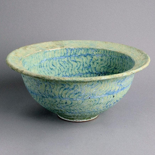 Large stoneware bowl with matte turquoise glaze by Peter Frasier Beard