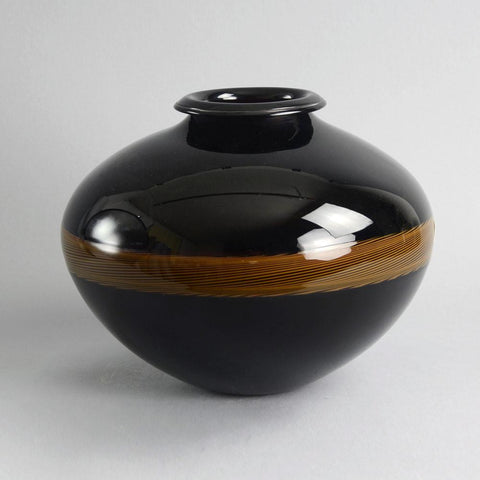 """Incalmo"" brown and copper colored glass vase by Lino Tagliapietra"