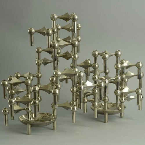 Set of 34 modular chrome candle holders by Fritz Nagel and Ceasar Stoffi