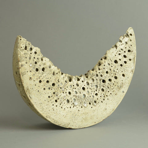 Stoneware sculptural form with matte pale gray glaze by Alan Wallwork