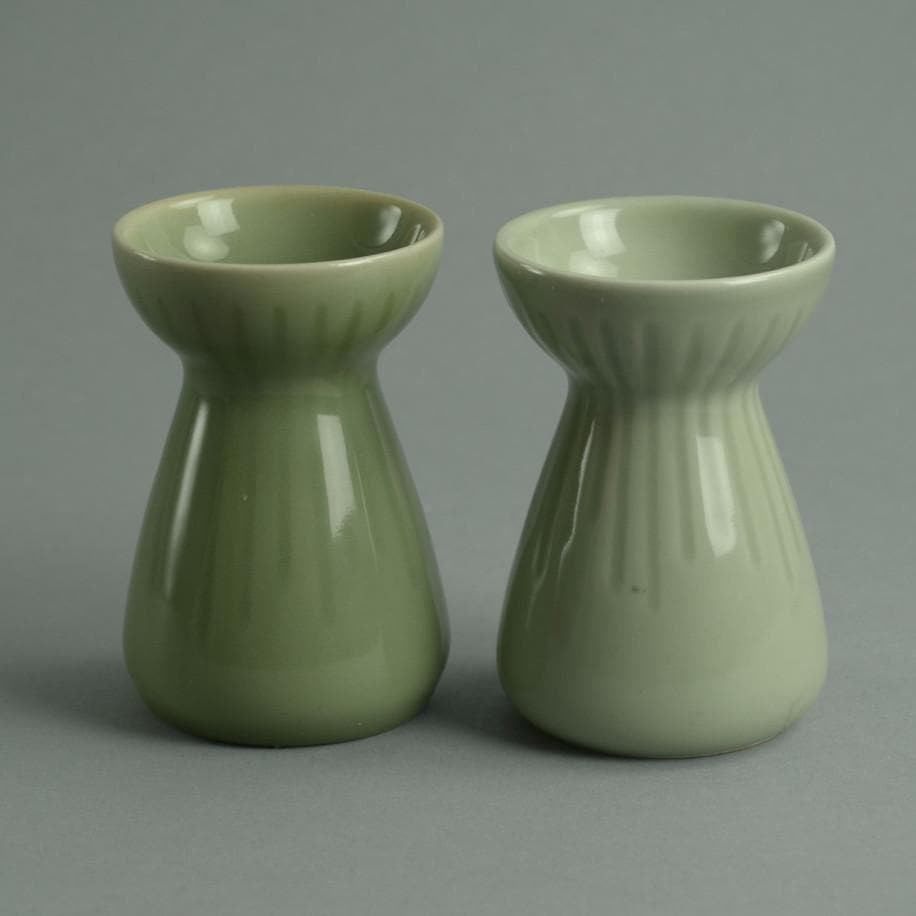 Pair of candleholders with celadon glaze by Gerd Bogelund