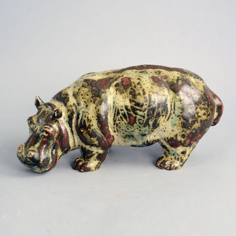 Stoneware figure of a hippo by Knud Kyhn N9844