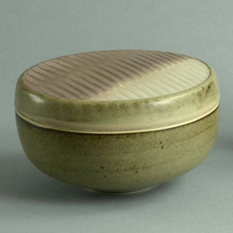 Unique stoneware lidded jar by Karl Scheid