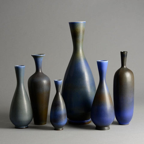 Group of vases by Berndt Friberg with blue haresfur glaze