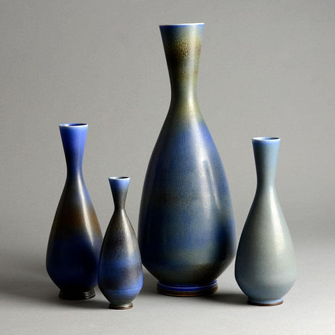 Berndt Friberg for Gustavsberg vases for sale with blue glaze