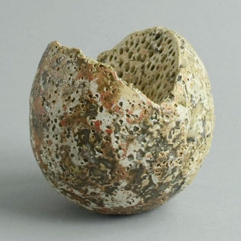 Stoneware sculptural form with matte brown glaze by Alan Wallwork