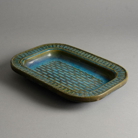 "Wilhelm Kåge for Gustavsberg Unique stoneware ""Farsta"" dish for sale"