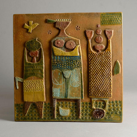 Stig Lindberg, Stoneware tile with relief illustration of three figures E7017