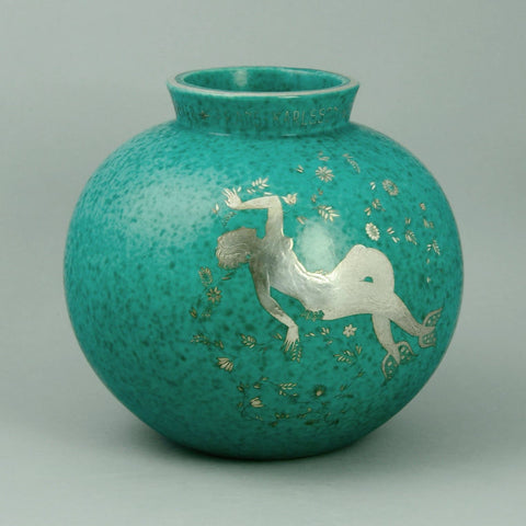 "Stoneware ""Argenta"" vase with mermaid and  matte green glaze by Wilhelm Kage"