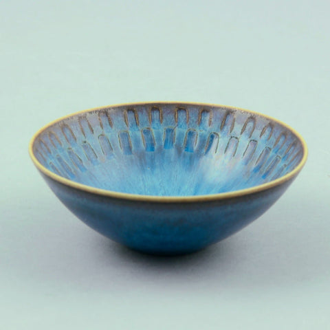 Stig Lindberg for Gustavsberg unique stoneware bowl with blue glaze