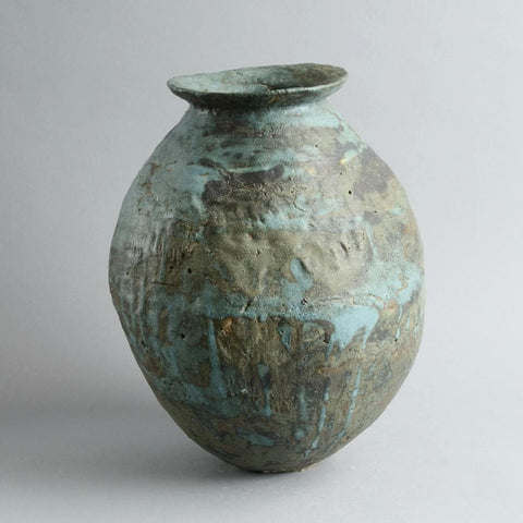 Stoneware vase with matte blue and gray glaze by Ewen Henderson