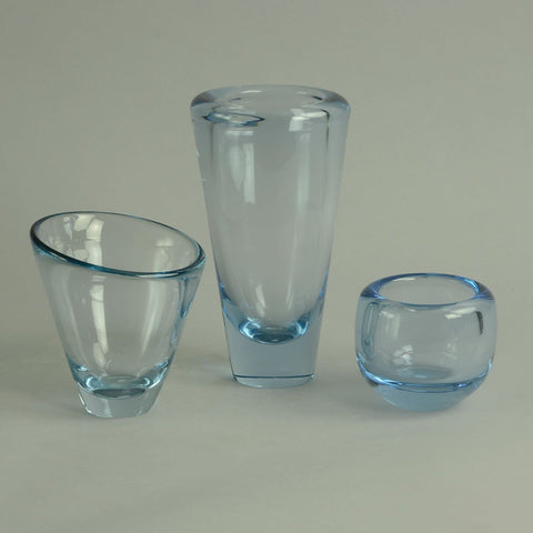 Set of three glass vases by Holmegaard
