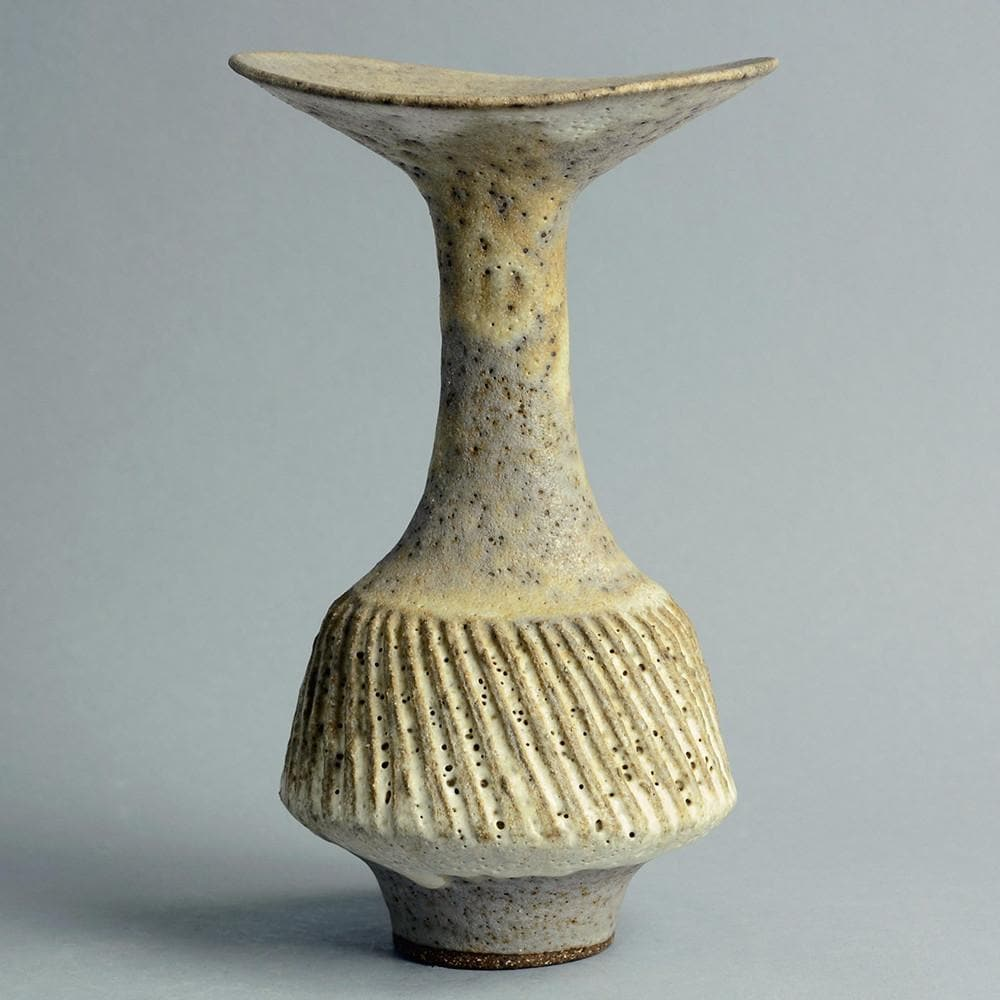 Lucie Rie vase with volcanic glaze