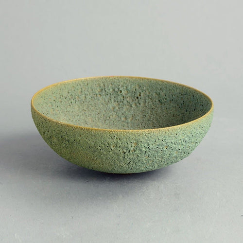 Unique earthenware bowl with green volcanic glaze by Gertrude and Otto Natzler