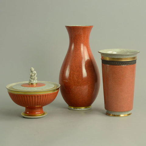Three items with orange crackle glaze by Royal Copenhagen