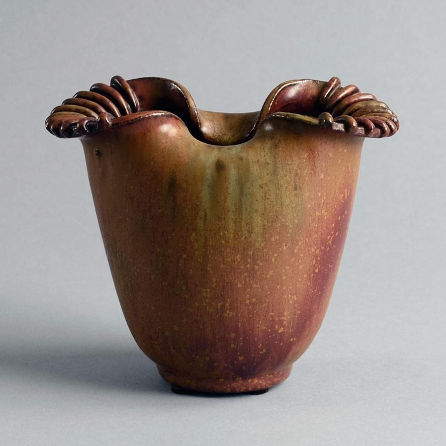 Stoneware vase with ribbed flaring edges Arne Bang