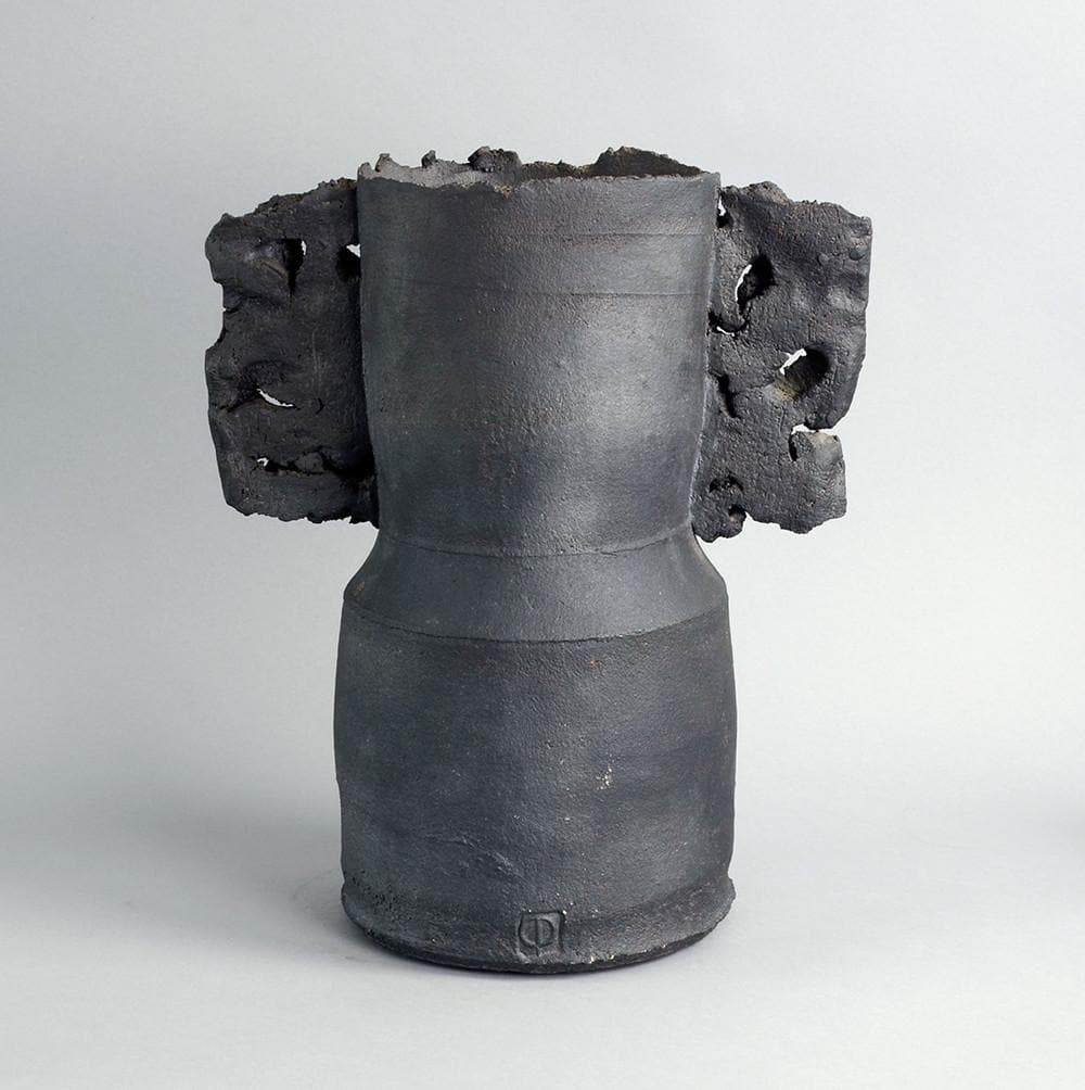 Winged form stoneware vase with matte charcoal glaze by Colin Pearson