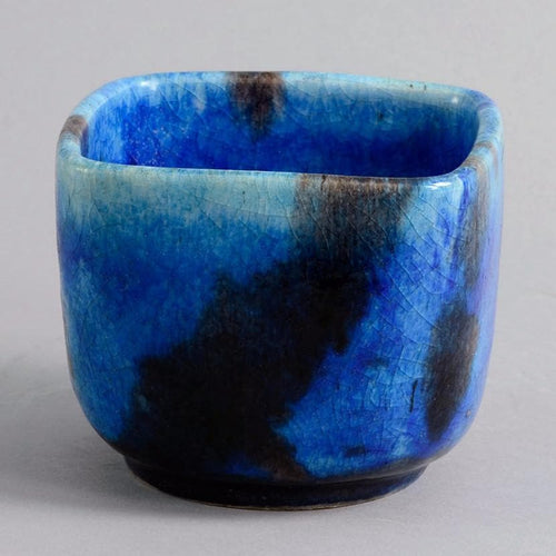 Square bowl with blue glaze by Guido Gambone