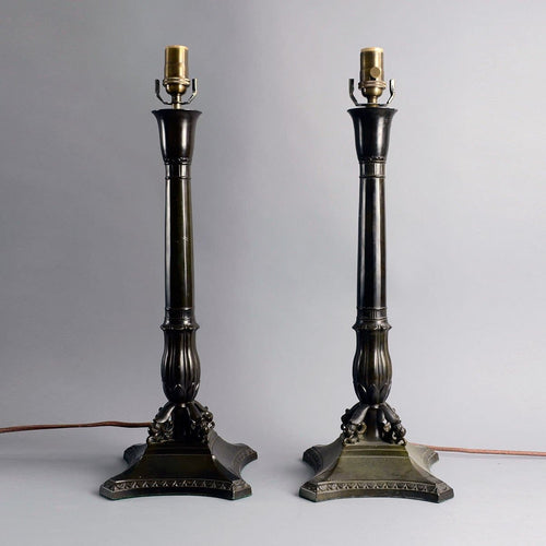 Pair of tall lamps by Just Andersen N9277 and  N9042