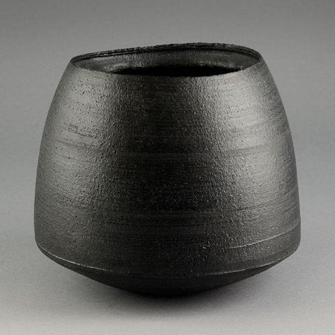 Dan Kelly enclosed pot with black glaze for sale