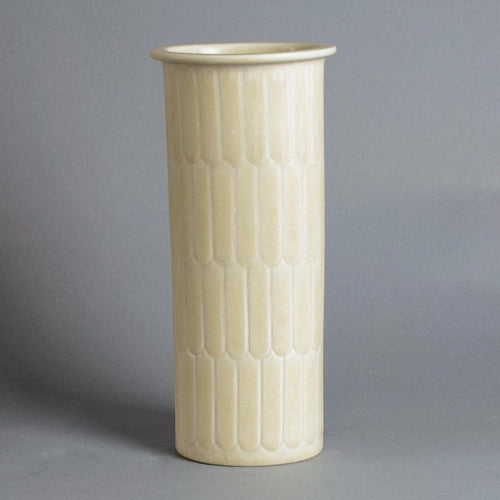 Stoneware vase with carved pattern by Gunnar Nylund A2028