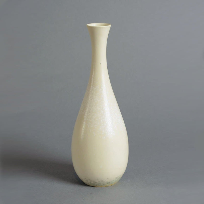 Stoneware vase with matte cream crystalline glaze by Carl-Harry Stålhane A1804