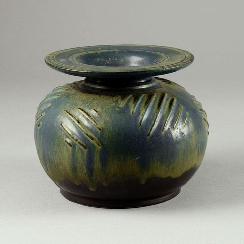 Bode Willumsen and Hans Hansen, stoneware vase with blue and yellow glaze  N4094