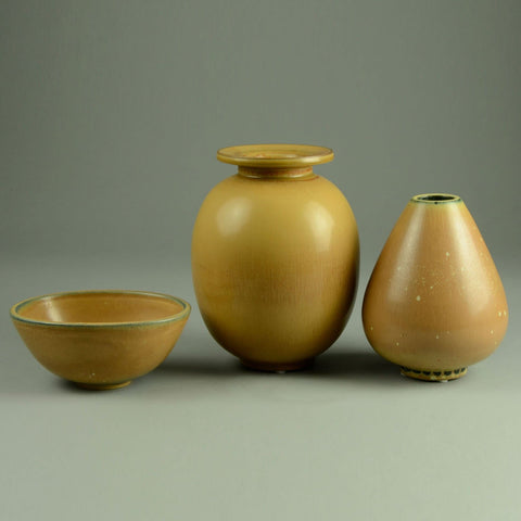 Group of yellow ochre vases by Gunnar Nylund for Rorstrand