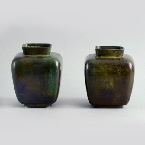 Pair of bronze square vases by Just Andersen