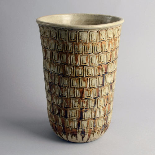 Unique stoneware vase with incised decoration by John Andersson F1472