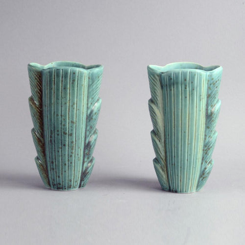 Pair of stoneware vases with matte turqiouse glaze by Gunnar Nylund B3863