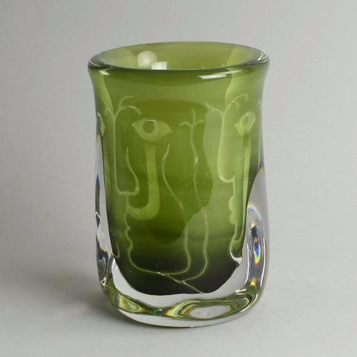 "Green glass ""Ariel"" vase by Ingeborg Lundin for Orrefors B3000"