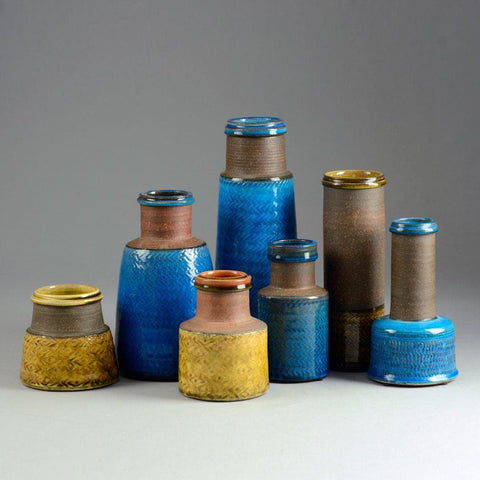 Nils Kahler for Kahler Keramik turquoise and yellow ceramics for sale