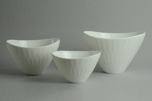 Three white bowls by Arthur Carlsson Percy for Gulluskrufs, Sweden