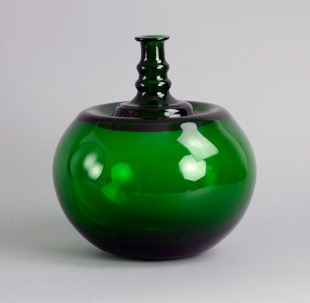 "Kaj Franck for Nuutäjarvi-Nottsjö, ""Apple"" vase in green glass"