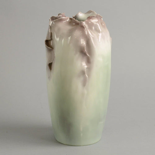 Porcelain vase with hand molded and carved body, Rorstrand N8311