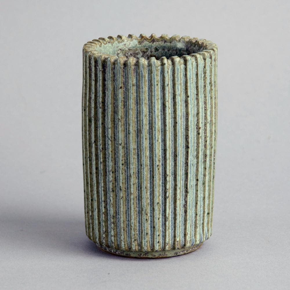Stoneware ribbed vase with matte olive and blue glaze by Arne Bang