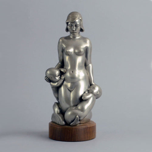 Pewter sculpture of mermaid by Arno Malinowski