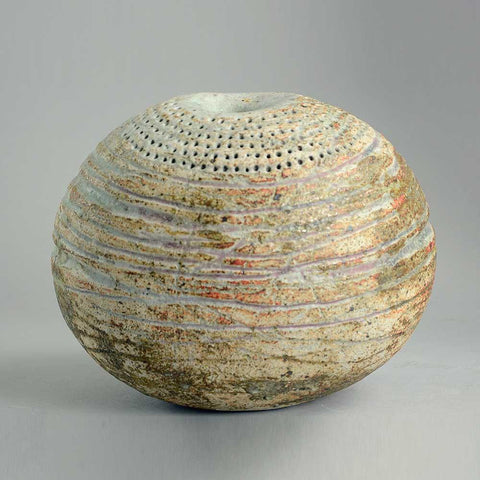 Stoneware vessel with matte brown glaze by Alan Wallwork
