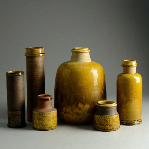 Nils Kähler, Kähler Keramik, group of vases with yellow glaze