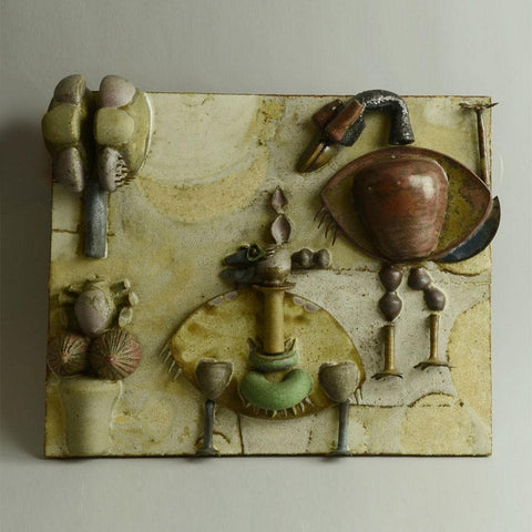 Unique stoneware tile by Beate Kuhn