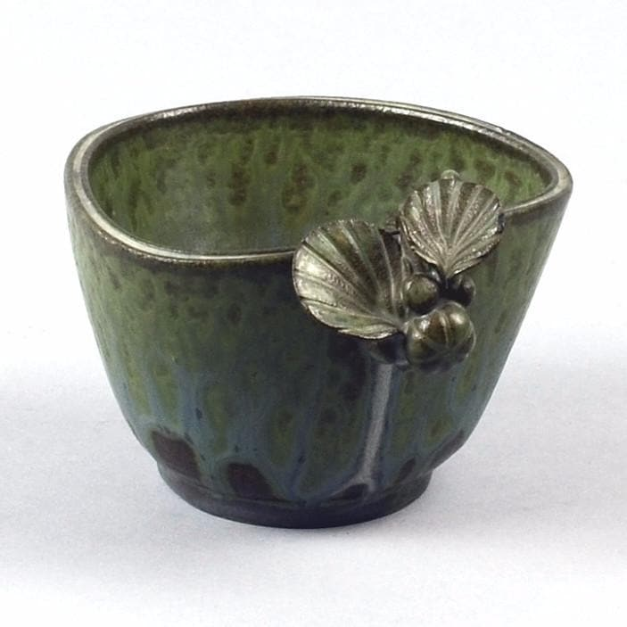 Stoneware Bowl with  leaf decoration by Arne Bang
