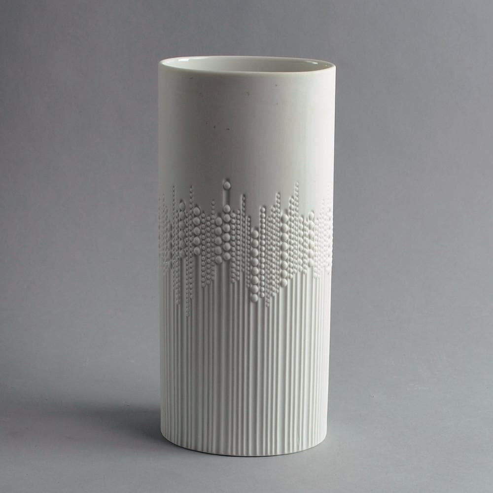 White porcelain cylindrical vase by Tapio Wirkkala for Rosenthal