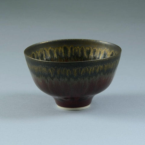 Unique porcelain bowl with glossy red and metallic brown glaze by Peter Wills C5292