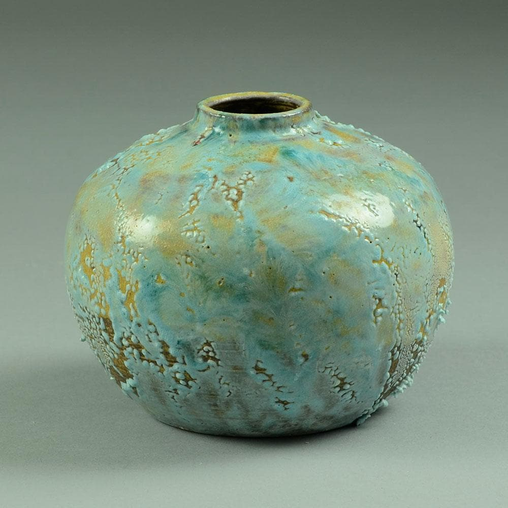 Ceramic vase with blue volcanic glaze by Jean Besnard