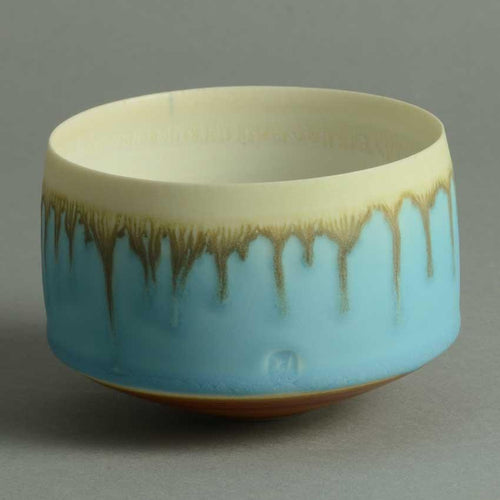 Porcelain bowl with matte pale blue and cream glaze by Peter Wills