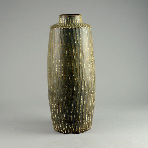 Stoneware vase with matte streaky brown glaze by Gunnar Nylund D6243