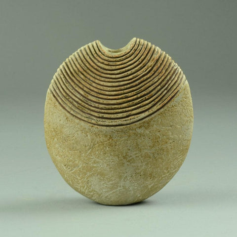 Flattened stoneware vase by Alan Wallwork british ceramics