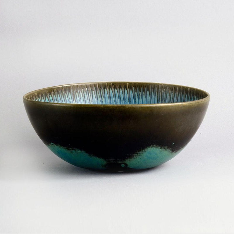 stig lindberg bowl gustavsberg brown blue