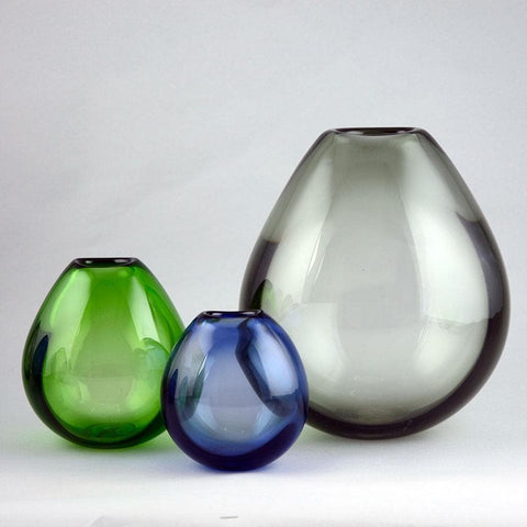 Per Lutken for Holmegaard, three soap bubble vases in blue, green and gray